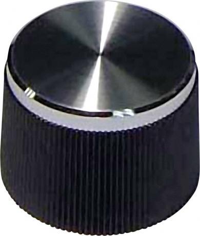 Buton de aparat, suprafaţă striată în exterior, Ø ax 6 mm, negru
