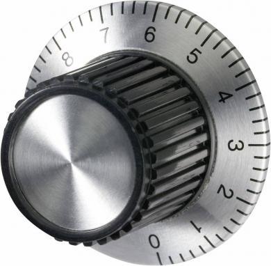Buton universal cu scală, Ø ax 6 mm, aluminiu exolat