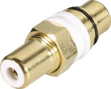 Adaptor RCA aurit, culoare: alb