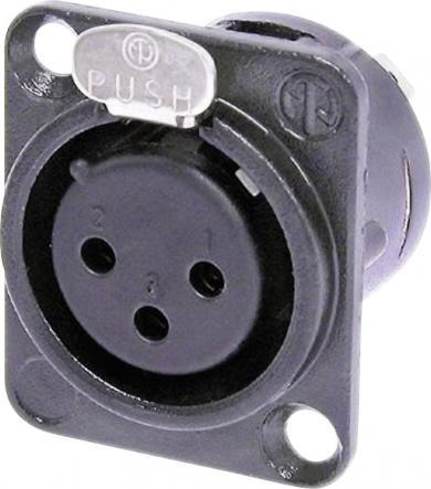 Soclu mamă XLR, drept, conexiune prin lipire, 3 pini, culoare: negru