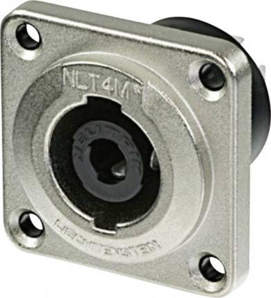 Conector metalic Speakon seria STX, 4 pini, mamă, drept, conexiune prin conector plat 6,3 mm