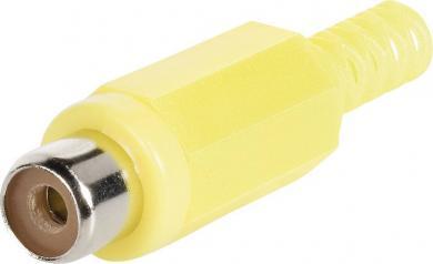 Mufă mamă, dreaptă RCA Ø cablu 4,5 mm, cu protecţie la îndoire, galben