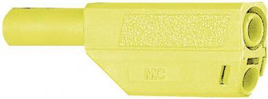 Mufă banană izolată Multi-Contact SLS425, 4 mm, 32 A la 2,5 mm², 1000 V, conector drept, material nichelat, verde-galben