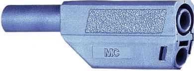 Mufă banană izolată Multi-Contact SLS425, 4 mm, 32 A la 2,5 mm², 1000 V, conector drept, material nichelat, albastru