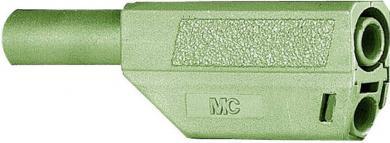 Mufă banană izolată Multi-Contact SLS425, 4 mm, 32 A la 2,5 mm², 1000 V, conector drept, material nichelat, verde