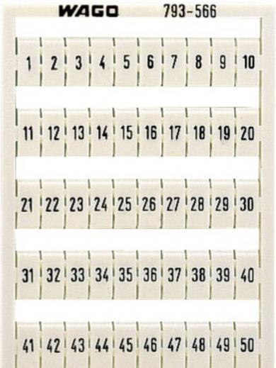 Plăcuţe inscripţionare, 41-50 vertical, 5-5,2 mm