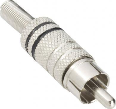 Mufă tată, dreaptă RCA Ø cablu 4,5 mm, cu protecţie la îndoire, metalic