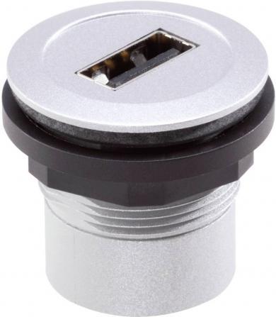 Conector soclu USB 2.0, material: plastic, vopsea metalizată, mufă USB tip A frontal, mufă USB tip B în spate, IP 65