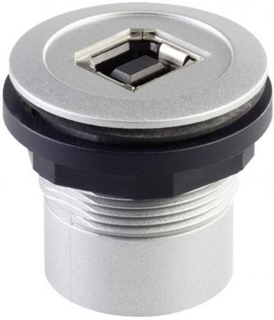 Conector soclu USB 2.0, material: plastic, vopsea metalizată, mufă USB tip B frontal, mufă USB tip A în spate, IP 65