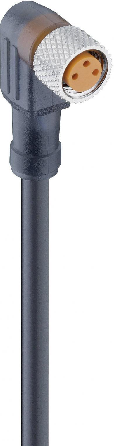 Cablu de conectare actuator/senzor cu conector M8, angular