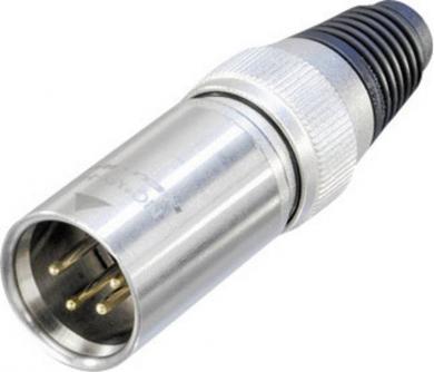 Conector XLR seria X-HD, tată, drept, 4 pini, culoare pţel, suprafaţa de contact aur
