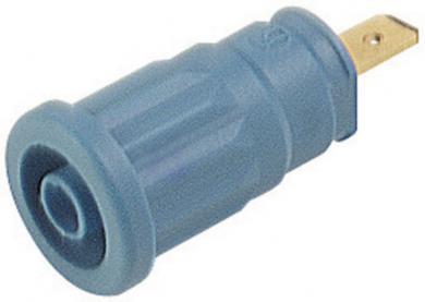 Soclu de siguranţă Hirschmann SEP, 24 A, 4 mm, conexiune prin conector plat 4,8 mm, albastru