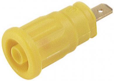 Soclu de siguranţă Hirschmann SEP, 24 A, 4 mm, conexiune prin conector plat 4,8 mm, galben