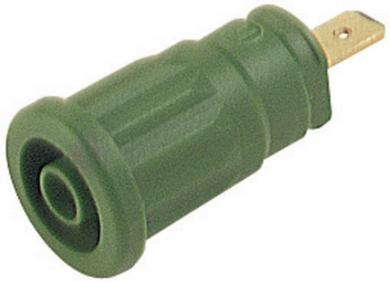 Soclu de siguranţă Hirschmann SEP, 24 A, 4 mm, conexiune prin conector plat 4,8 mm, verde