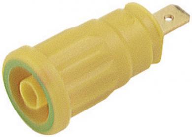 Soclu de siguranţă Hirschmann SEP, 24 A, 4 mm, conexiune prin conector plat 4,8 mm, galben-verde