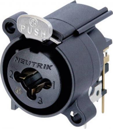 Mufă mamă XLR/mufă jack Combo, tip NCJ 6 FA-H, conexiuni prin lipire, orizontal, montare PCB