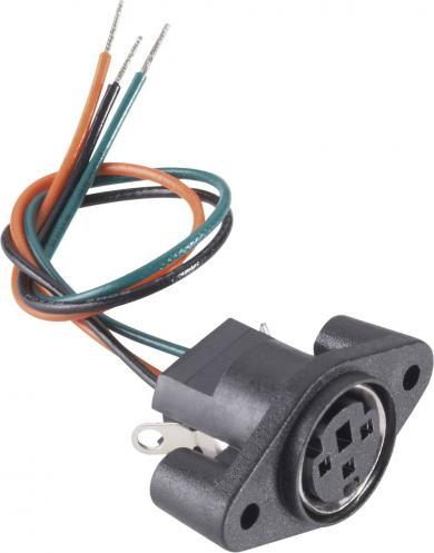 Conector soclu mini-DIN, pentru montare, 3 pini, cu cablu de conexiune, 204024 BKL Electronic