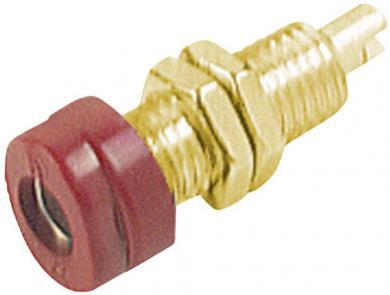 Soclu pentru montare Hirschmann BUG 10 Au, material: alamă aurită, 16 A, 4 mm, roşu