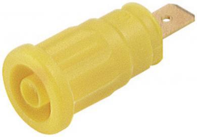 Soclu de siguranţă Hirschmann SEP, 32 A, 4 mm, conexiune prin conector plat 6,3 mm, galben