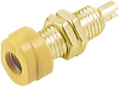 Soclu pentru montare Hirschmann BUG 10 Au, material: alamă aurită, 16 A, 4 mm, galben