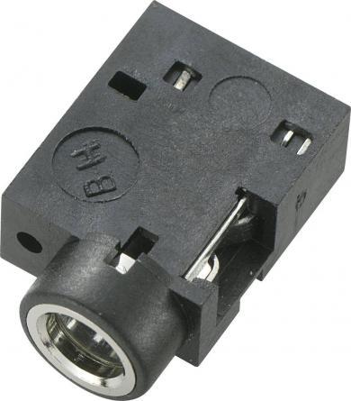 Soclu jack pentru montare, Ø interior 3,5 mm, soclu mamă, conexiune prin lipire, instalare pe circuite imprimate 90˚, negru