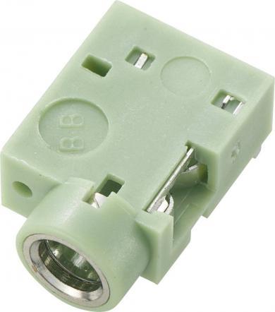 Soclu jack pentru montare, Ø interior 3,5 mm, soclu mamă, conexiune prin lipire, instalare pe circuite imprimate 90˚, verde
