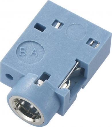 Soclu jack pentru montare, Ø interior 3,5 mm, soclu mamă, conexiune prin lipire, instalare pe circuite imprimate 90˚, albastru