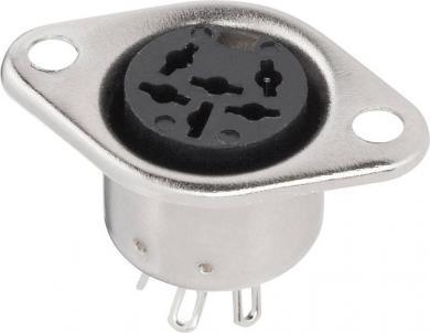 Conector DIN, soclu mamă, conexiune prin lipire, 6 pini, imagine pini conform DIN 41524
