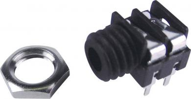 Soclu jack pentru montare FCR1281, 3,5 mm, conexiune PCB, pini centrali, cu filet exterior
