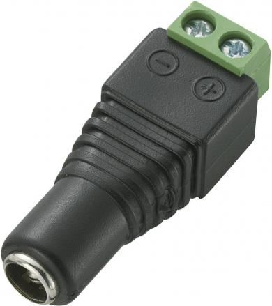 Conector cu conexiune cu şurub, Ø exterior 5,5 mm, Ø interior 2,5 mm, mamă, drept, AWG 26-14
