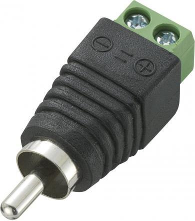 Mufă RCA, tată, dreaptă, cu conexiune prin şurub, 5 A, 12 V/DC, AWG 26-12
