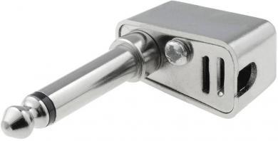 Jack 6,35 mm, mufă tată, tip FM 1088C, în unghi, ecranat, 2 / Mono, carcasă PVC