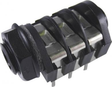 Soclu jack pentru montare 6,35 mm, 3 / Stereo, conexiune PCB, contacte centrale, contact de comutare NCNCNC, piuliţă PVC