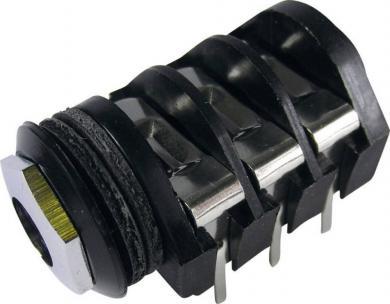 Soclu jack pentru montare 6,35 mm, 3 / Stereo, conexiune PCB, contacte centrale, contact de comutare NCNCNC, piuliţă metal