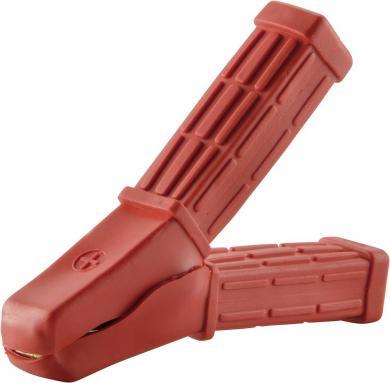 Clemă crocodil izolată, diametru cablu: cu şurub 4 mm şi piuliţă sau prin sertizare până la 10 mm², 80 A, roşu