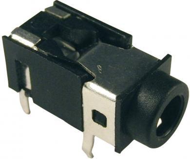 Soclu jack pentru montare FC86127, Ø interior 3,5 mm, 4 pini, carcasă PVC, negru