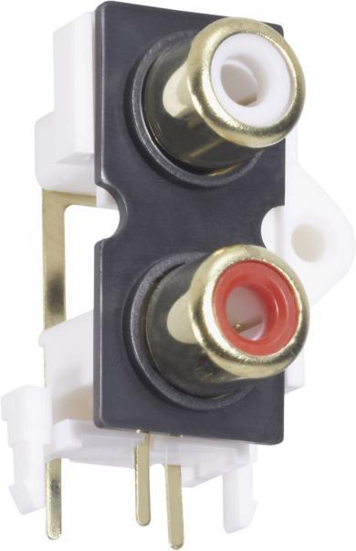 Soclu dublu RCA, roşu şi negru, montare pe circuite imprimate, 2 poli