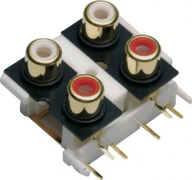 Soclu dublu RCA, roşu şi negru, montare pe circuite imprimate, 4 poli