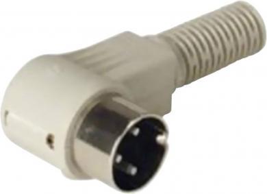 Conector DIN, mufă tată, în unghi, 4 A, conexiune prin lipire, tip Nr. 1, 3 pini