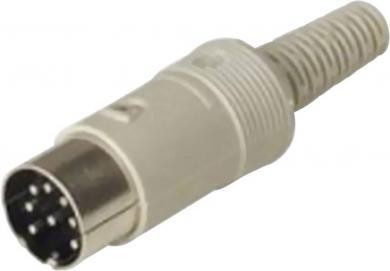 Conector DIN, mufă tată, 4 A, conexiune prin lipire, tip Nr. 6, 6 pini