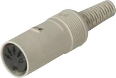 Conector DIN, mufă mamă, drept, 4 A, conexiune prin lipire, tip Nr. 6, 6 pini
