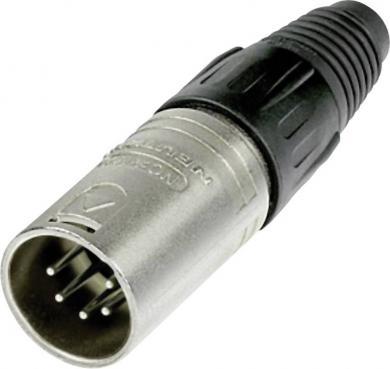 Conector XLR seria X, tată, drept, 5 pini, culoare nichel, suprafaţa de contact argint