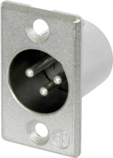 Soclu tată XLR, drept, conexiune prin lipire, 3 pini, culoare: nichel