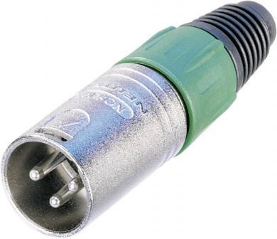 Conector XLR seria X, tată, drept, 3 pini, culoare nichel, suprafaţa de contact argint