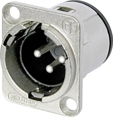Soclu tată XLR, drept PCB, conexiune prin lipire, 3 pini, culoare: nichel