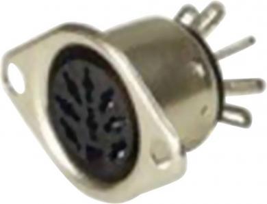 Conector DIN, soclu mamă, 4 A, conexiune prin lipire, tip Nr. 6, 6 pini