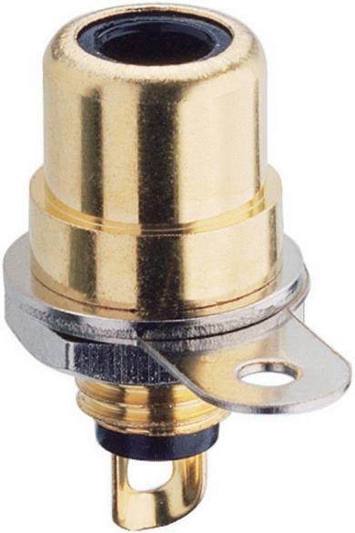 Soclu RCA mamă, montare centrală, BTO 1 V, 2 A, 34 V/AC/DC, negru, suprafaţă aurită