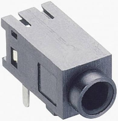 Jack 2,5 mm, soclu mamă, stereo, în unghi, pentru montare, 1501 05 Lumberg