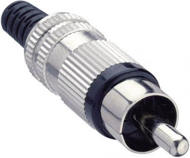 Mufă RCA STO 2, conexiune prin lipire, cu protecţie la îndoire din plastic, material CuZn, negru