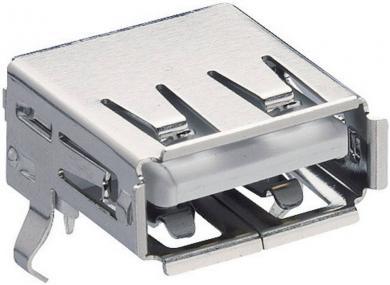 Conector USB A 2.0, soclu, în unghi, 2410 02 Lumberg